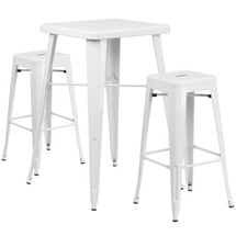 23.75'' Square White Metal Indoor-Outdoor Bar Table Set with 2 Square Seat Backless Barstools