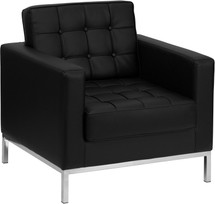 Lacey Series Contemporary Black Leather Chair with Stainless Steel Frame