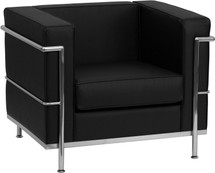 Regal Series Contemporary Black Leather Chair with Encasing Frame