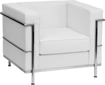 Regal Series Contemporary White Leather Chair with Encasing Frame