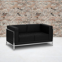 Imagination Series Contemporary Black Leather Loveseat with Encasing Frame