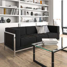 Imagination Series Contemporary Black Leather Sofa with Encasing Frame