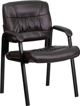 Brown Leather Executive Side Reception Chair with Black Frame Finish