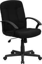 Mid-Back Black Fabric Executive Swivel Chair with Nylon Arms