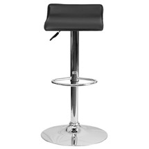Backless Contemporary Black Vinyl Adjustable Height Barstool with Chrome Base