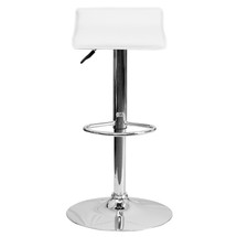Backless Contemporary White Vinyl Adjustable Height Barstool with Chrome Base