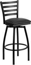 Series Black Ladder Back Swivel Metal Barstool - Black Vinyl Seat