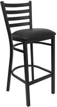 Series Black Ladder Back Metal Restaurant Barstool - Black Vinyl Seat