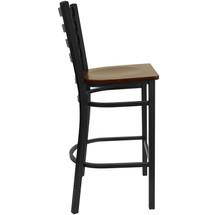 Series Black Ladder Back Metal Restaurant Barstool - Mahogany Wood Seat