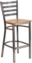 Series Clear Coated Ladder Back Metal Restaurant Barstool - Natural Wood Seat