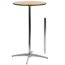 24'' Round Wood Cocktail Table with 30'' and 42'' Columns