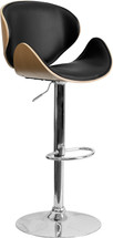 Beech Bentwood Adjustable Height Barstool with Curved Black Vinyl Seat and Back