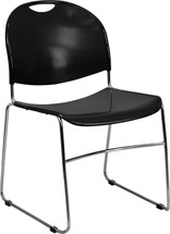 880 lb. Capacity Black Ultra Compact Stack Chair with Chrome Frame
