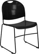 880 lb. Capacity Black Ultra Compact Stack Chair with Black Frame