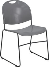 880 lb. Capacity Gray Ultra Compact Stack Chair with Black Frame