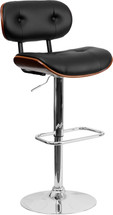Walnut Bentwood Adjustable Height Barstool with Button Tufted Black Vinyl Upholstery