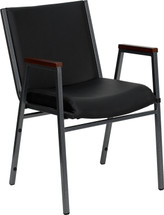 Heavy Duty Black Vinyl Fabric Stack Chair with Arms