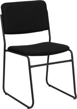 1000 lb. Capacity High Density Black Fabric Stacking Chair with Sled Base