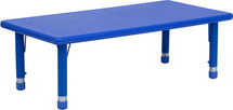 4''W x 48''L Height Adjustable Rectangular Blue Plastic Activity Table