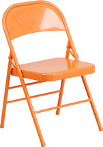 COLORBURST Orange Triple Braced & Double Hinged Metal Folding Chair