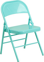 COLORBURST Tantalizing Teal Triple Braced & Double Hinged Metal Folding Chair