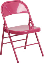COLORBURST Shockingly Fuchsia Triple Braced & Double Hinged Metal Folding Chair