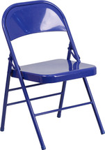 COLORBURST Cobalt Blue Triple Braced & Double Hinged Metal Folding Chair