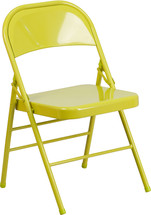 COLORBURST Twisted Citron Triple Braced & Double Hinged Metal Folding Chair