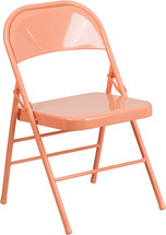 COLORBURST Sedona Coral Triple Braced & Double Hinged Metal Folding Chair