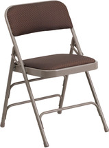 Curved Triple Braced & Double Hinged Brown Patterned Fabric Metal Folding Chair