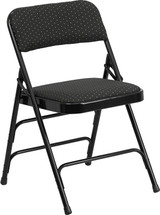Curved Triple Braced & Double Hinged Black Patterned Fabric Metal Folding Chair