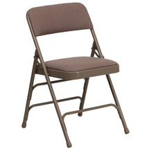Curved Triple Braced & Double Hinged Beige Fabric Metal Folding Chair