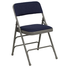 Curved Triple Braced & Double Hinged Navy Fabric Metal Folding Chair