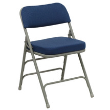 29'' H Premium Curved Triple Braced & Double Hinged Navy Fabric Metal Folding Chair