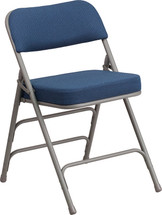 29.5'' H Premium Curved Triple Braced & Double Hinged Navy Fabric Metal Folding Chair