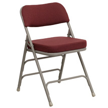 29''H Premium Curved Triple Braced & Double Hinged Burgundy Fabric Metal Folding Chair