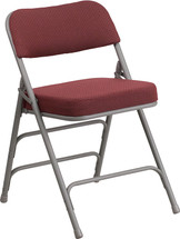 "29.5"" H Premium Curved Triple Braced & Double Hinged Burgundy Fabric Metal Folding Chair"