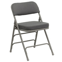 29''H Premium Curved Triple Braced & Double Hinged Gray Fabric Metal Folding Chair