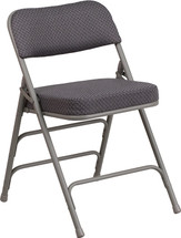 29.5'' H Premium Curved Triple Braced & Double Hinged Gray Fabric Metal Folding Chair