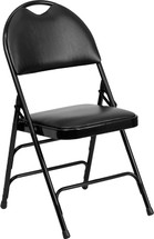 Ultra-Premium Triple Braced Black Vinyl Metal Folding Chair with Easy-Carry Handle