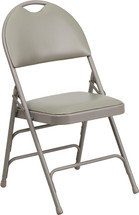 Ultra-Premium Triple Braced Gray Vinyl Metal Folding Chair with Easy-Carry Handle