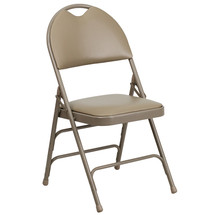 Ultra-Premium Triple Braced Beige Vinyl Metal Folding Chair with Easy-Carry Handle