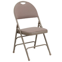 Ultra-Premium Triple Braced Beige Fabric Metal Folding Chair with Easy-Carry Handle