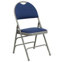 Ultra-Premium Triple Braced Navy Fabric Metal Folding Chair with Easy-Carry Handle