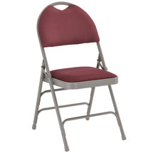Ultra-Premium Triple Braced Burgundy Fabric Metal Folding Chair with Easy-Carry Handle