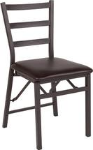 HERCULES Series Brown Folding Ladder Back Metal Chair with Brown Vinyl Seat