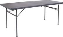 6' Bi-Fold Dark Gray Plastic Folding Table with Carrying Handle