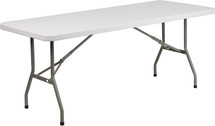 6' Granite White Plastic Folding Table