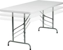 6' Height Adjustable Granite White Plastic Folding Table