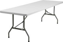 "8' 1.75"" Thick Granite White Plastic Folding Table"
